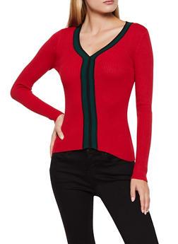 V Neck Contrast Trim Sweater - 3020051060184