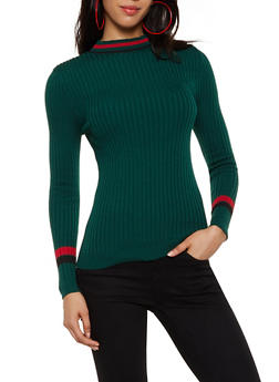 Rib Knit Striped Detail Sweater - 3020051060185