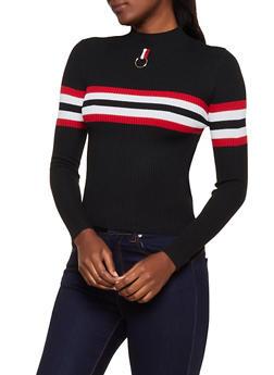 O Ring Detail Rib Knit Sweater - 3020051060186