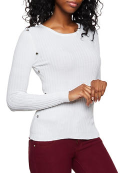 Snap Trim Rib Knit Sweater - 3020051060193