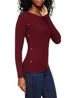 Snap Trim Rib Knit Sweater - 3020051060193