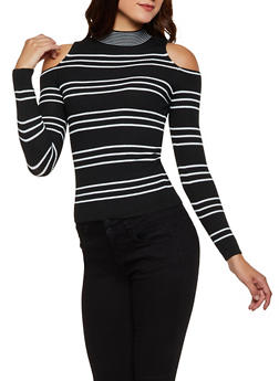 Striped Cold Shoulder Sweater - 3020051060195