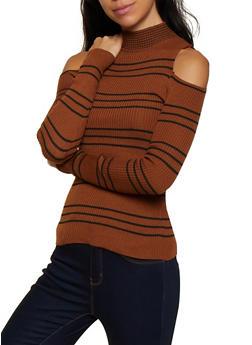 Striped Cold Shoulder Sweater - 3020051060195