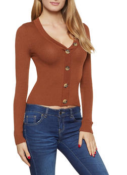 V Neck Button Front Sweater - 3020051060199