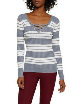 Striped Lace Up Sweater   3020051060203 - 3020051060203