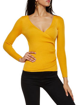 Ribbed Faux Wrap Sweater - 3020051060205