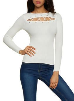Lace Up Open Front Sweater - 3020051060206
