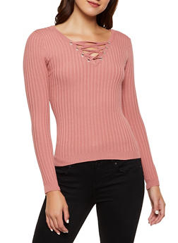 Lace Up Ribbed Sweater - 3020051060208