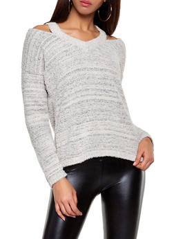 Plush Cold Shoulder Sweater - 3020051930396