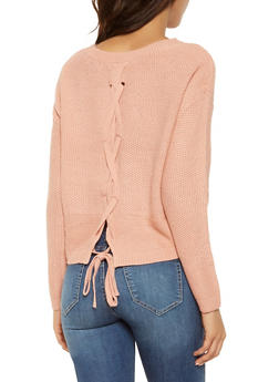 Lace Up Back Sweater - 3020054260534