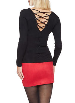 Lace Up Back Sweater - 3020054260562