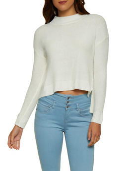 Mock Neck High Low Sweater - 3020054261458
