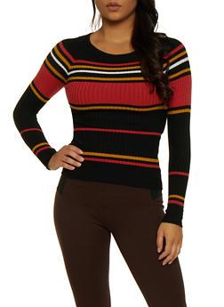 Striped Crew Neck Sweater   3020054261472 - 3020054261472