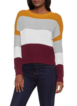 Color Block Knit Sweater - 3020054261488