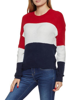 Color Block Crew Neck Sweater - 3020054261491