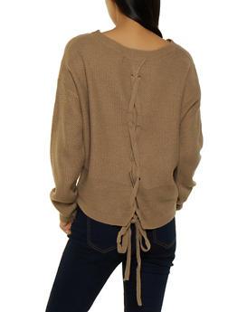 Lace Up Back Knit Sweater - 3020054261534