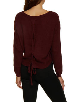 Lace Up Back Knit Sweater - 3020054261534