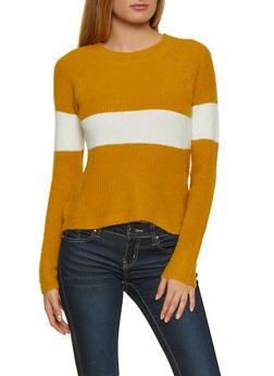 Crew Neck Stripe Detail Sweater - 3020054261556