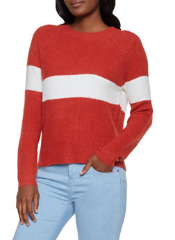 Crew Neck Stripe Detail Sweater - 3020054261556