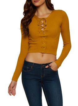 Lace Up Rib Knit Sweater - 3020054261607