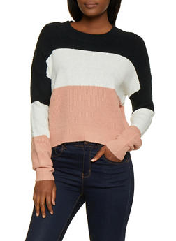 Color Block Long Sleeve Sweater - 3020054262491