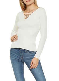 Rib Knit Lace Up Sweater - 3020054264858