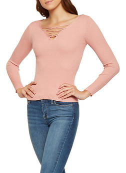 Rib Knit Lace Up Sweater - 3020054264858