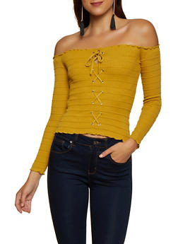 Lace Up Ribbed Off the Shoulder Top - 3020054264915
