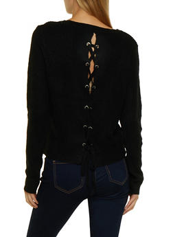 Lace Up Back Crew Neck Sweater - 3020054264919