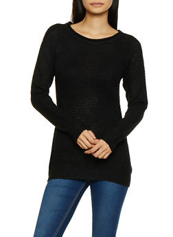Long Sleeve Waffle Knit Sweater - 3020054265907