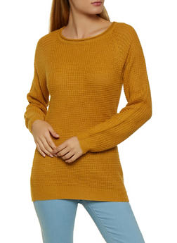 Long Sleeve Waffle Knit Sweater - 3020054265907