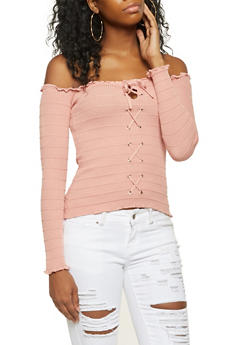 Lace Up Off the Shoulder Top - 3020054265915