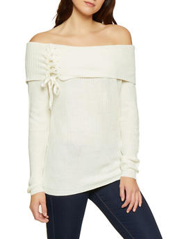 Fold Over Off the Shoulder Sweater - 3020054265918