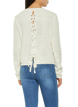 Lace Up Back Sweater - 3020054265919
