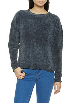 Crew Neck Chenille Sweater - 3020054265926