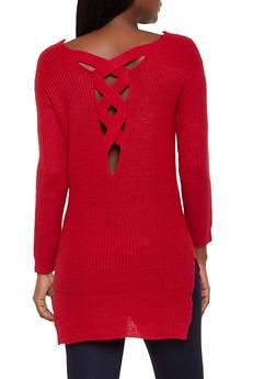 Lace Up Back V Neck Sweater - 3020054266882