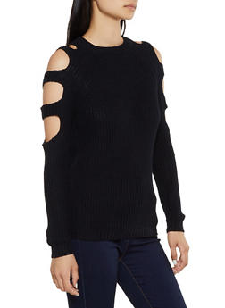 Caged Sleeve Knit Sweater - 3020054266921