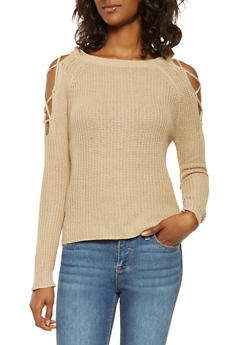 Lace Up Cold Shoulder Sweater - 3020054267825