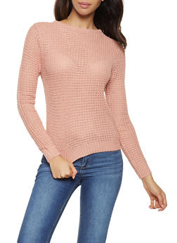 Lace Up Back Waffle Knit Sweater - 3020054267883