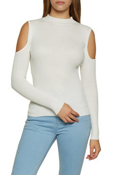 Ribbed Mock Neck Cold Shoulder Top - 3020054267910