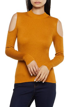 Ribbed Mock Neck Cold Shoulder Top - 3020054267910