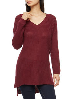 Long Sleeve Tunic Sweater with Side Slits - 3020054268217