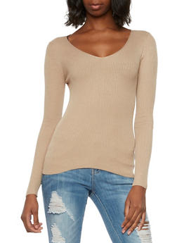 Ribbed V-Neck Sweater - 3020054269214