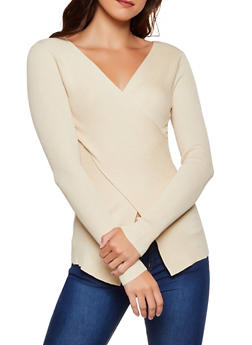 Ribbed Faux Wrap Sweater | 3020058750230 - 3020058750230