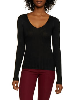 Lace Up Back Rib Knit Sweater - 3020058750231