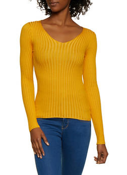 Lace Up Back Rib Knit Sweater - 3020058750231