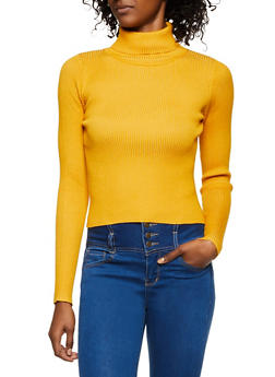 Rib Knit Turtleneck Sweater - 3020058750233