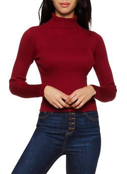 Rib Knit Turtleneck Sweater - 3020058750233