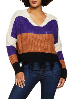 Frayed Striped Sweater - 3020058750235