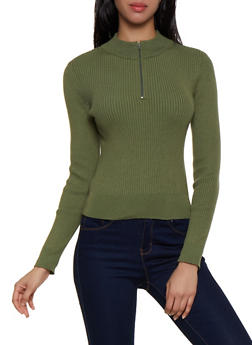Zip Neck Ribbed Sweater - 3020058750236